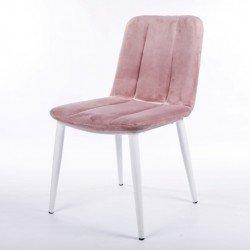 Розовый стул на белых ногах из мягкого велюра Ницца