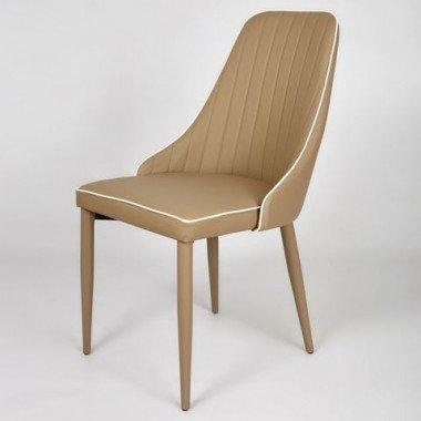 Стильный стул из эко-кожи для ресторана в цвете капучино Барселона