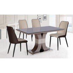 Бежевый стол Космо с черным стеклом на столешнице