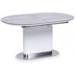 Белый обеденный стол на одной ноге Омега 140