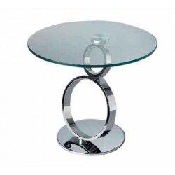 Дизайнерский журнальный столик Ринг из стекла и метала
