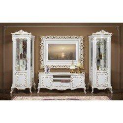 Белая элитная стенка с ТВ рамкой Людовик в гостиную