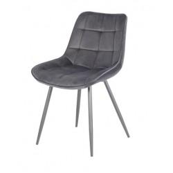Серый обеденный стул из велюра N-45