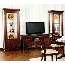 Витрины стеклянные с ТВ тумбой для гостиной Элеганс в темном цвете