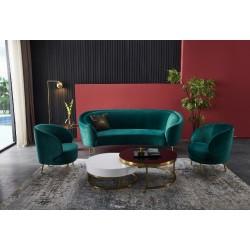 Велюровый мягкий диван Сильвия в элитной изумрудной ( зеленой) оббивке