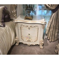 Белая тумбочка прикроватная в стиле барокко для спальни Флоренция Люкс, Китай