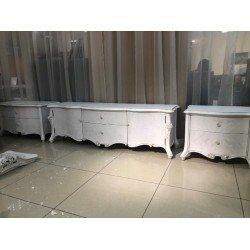 Белая ТВ тумба 2220 с серебряной патиной, Китай