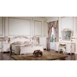 Белая резная кровать с твердым изголовьем Беатриче, Джосс