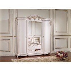 Белый четырехдверный шкаф с зеркалом Беатриче, Китай