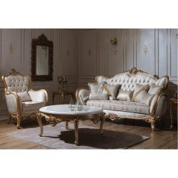 Белый комплект мягкой мебели Буржауа в золоте, Аванти
