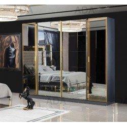Большой зеркальный шкаф для одежды Класс в сером цвете