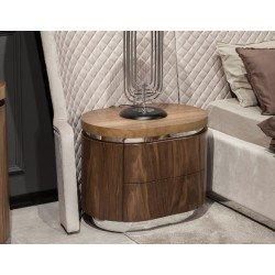 Овальная деревянная прикроватная тумбочка Лукка в стиле Лофт
