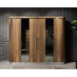 Шкаф для одежды из натурального дерева в округленными фасадами Лукка