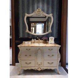 Белая мебель для ванной 1225 с золотом