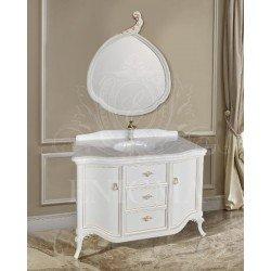 Белая тумба в ванную 1271 в стиле барокко с золотом