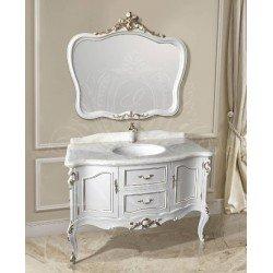 Белая тумба в ванную с золотой патиной 1292