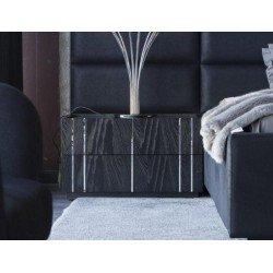 Черная прямоугольная тумбочка для спальни Аква в черном цвете