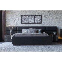 Черная кровать с мягким изголовьем Аква  (Aqua)