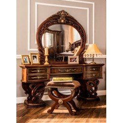 Элитный резной стол с зеркалом для спальни Андра