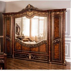 Шестидверный темный шкаф для спальни Андра, орех