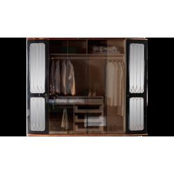 Четырехдверный шкаф для одежды в прозрачными стеклянными фасадами Милан, REST