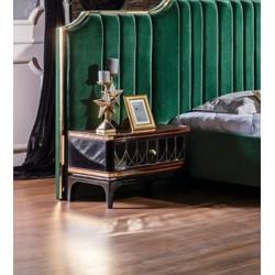 Черная прикроватная тумбочка с золотыми вставками Милан REST