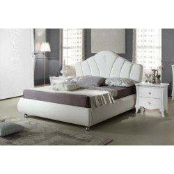 Белая итальянская кровать с мягким изголовьем Дорис