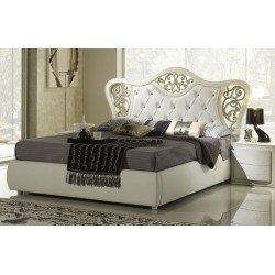 Белая кровать 1800 с декоративным изголовьем Шанель