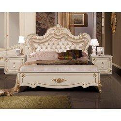 Классическая белая кровать 1800 с мягким изголовьем Адель