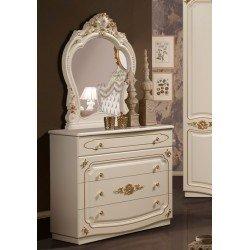Белый комод с зеркалом с золотом в спальню Адель