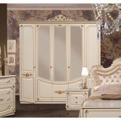 Белый шкаф на 5 дверей для одежды с зеркалами Адель