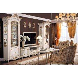 Белая стенка в гостиную с золотой патиной Элиза, Слониммебель