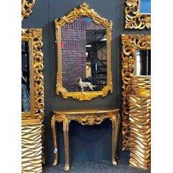 Золотая консоль с большим зеркалом 79