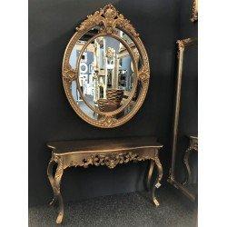 Серебряная консоль с круглым зеркалом 58