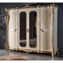 Четырехдверный шкаф с зеркалом Маркус в стиле барокко