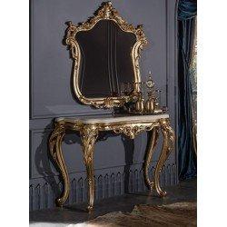Классическая золотая консоль с зеркалом Маркус MAZ