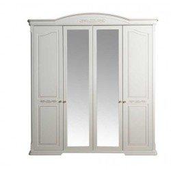 Белый четырехдверный шкаф из массива ольхи Барселона
