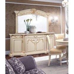 Белый буфет с зеркалом в стиле барокко Латифа, Слониммебель