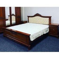 Деревянная румынская кровать 1800 Элипс с мягким кожаным изголовьем