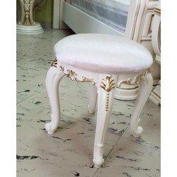 Белый круглый пуфик в стиле барокко Афина