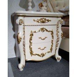 Белая прикроватная тумбочка в стиле барокко Афина