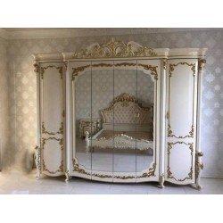 Белый шестидверный шкаф для одежды с зеркалами Афина