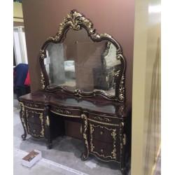 Большой туалетный стол с зеркалом Афина в цвете орех с золотом