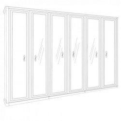 Белый шестидверный шкаф из глянцевого МДФ Белла( Роял)