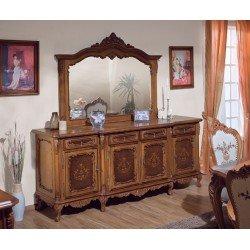 Большой ореховый буфет с зеркалом в гостиную Клеопатра