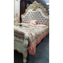 Белая большая кровать Афина с цветами