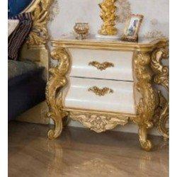 Белая прикроватная тумбочка с резным золотым декором Квин