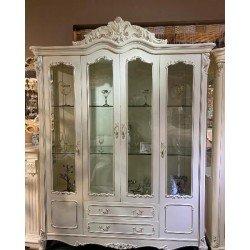 Белая четырехдверная витрина для посуды 8801
