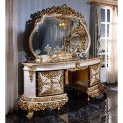 Большой резной туалетный стол с золотом для спальни РОЯЛ