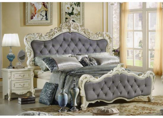 Белая кровать 1800 с мягким изголовьем Мелодия